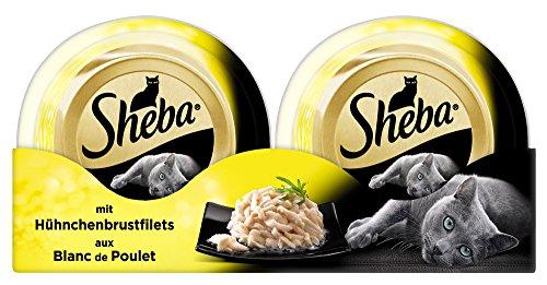 Sheba Adult Katzen-/Nassfutter, für erwachsene Katzen Feine Filets, mit Hühnchenbrustfilets, 24 Schalen (24 x 80 g)