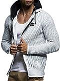 LEIF NELSON Herren Kapuzenpullover Strickjacke Hoodie Pullover mit Kapuze Sweatjacke Sweater Zipper Sweatshirt LN7055; Größe XL, Ecru-Grau