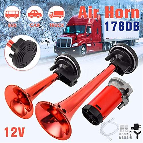 Preisvergleich Produktbild Sonstiges Zubehör für den Außenbereich, TwoCC Rot 12V 178DB Big-Loud Luft Horn Dual Trompete Kompressor Auto LKW Zug Boot