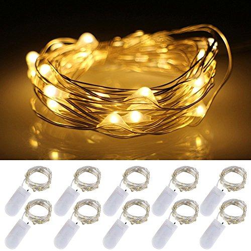 Szumy Batteriebetriebene Schnur-Lichter 5 Sätze 2M / 20 LEDS, erstaunlich hell - Ultra-dünnes flexibles einfaches, Silberdraht für Partei-Hochzeitsfest zu wickeln, feenhafter Lichteffekt (5PCS-Warm (Diy Kostüm Lila Fee)