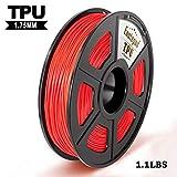 Rot Flexibel TPU Flexibel 3D Print Filament, Maßgenauigkeit +/- 0,02 mm, 0,5 kg/Spule, 1,75 mm, umweltfreundlicher Faden Geeignet für 3D-Drucker / 3D-Druckstift