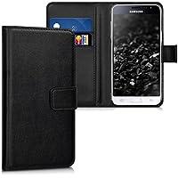 kwmobile Hülle für Samsung Galaxy J3 (2016) DUOS - Wallet Case Handy Schutzhülle Kunstleder - Handycover Klapphülle mit Kartenfach und Ständer Schwarz