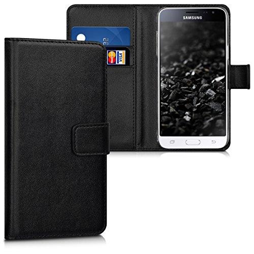 kwmobile Hülle für Samsung Galaxy J3 (2016) DUOS - Wallet Case Handy Schutzhülle Kunstleder - Handycover Klapphülle mit Kartenfach und Ständer Schwarz (Brieftasche Geldbörse Schwarz)