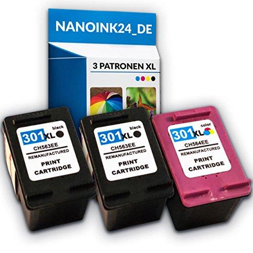 Preisvergleich Produktbild 3x Kompatible Tintenpatronen für HP 301 XL Deskjet 1510 2540 4500 Officejet 2620 bei Nano