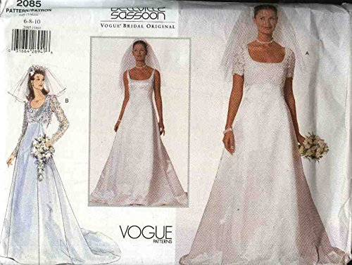 vogue-sewing-pattern-2085-misses-size-6-8-10-bellville-sassoon-wedding-gown-bridal-gown-dress-by-vog