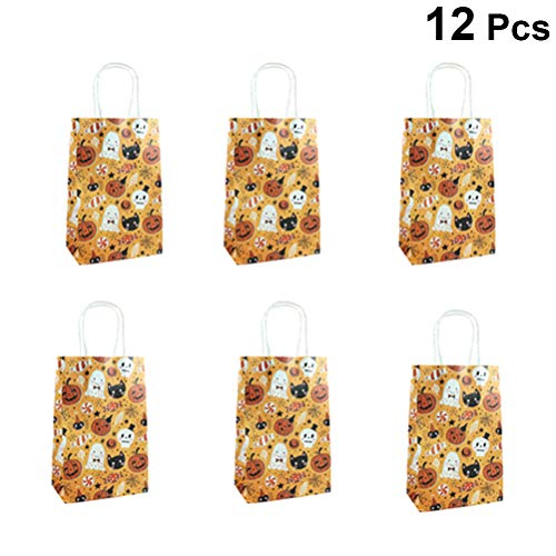 Amosfun 12 Stücke Halloween Süßes oder Saures Taschen Papier Süßigkeiten Taschen Lustige Kürbis Katze Schädel Gemusterte Taschen Party Favors für Halloween Party Supplies (13,8x22x7,8 cm)