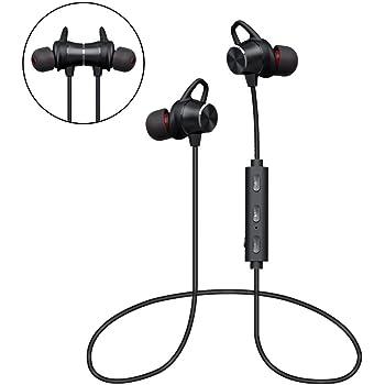 Auricolari Bluetooth Magnetici, Cuffie Bluetooth 4.1 Stereo Ultraleggere con Microfono, Sweatproof, 8 Ore di Riproduzione, Cancellazione del Rumore, Auricolari Wireless Sport