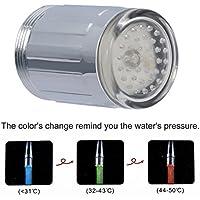 Tamlltide - Tapa de agua para grifo de ducha con sensor de presión de luz LED