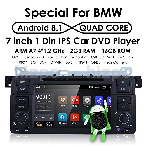 Hizpo Android 8.1 lettore DVD GPS Navigation OS Quad Core 1024600 HD touchscreen autoradio per BMW serie 3 E46 m3 318 320 325 330 335