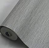 YUELA Yellow/White/Tan/Taupe Faux Grasscloth Dark Grey Textured Wall Paper Gray Modern Embossed Vinyl Wallpaper Roll For Hotel Bedroom,R