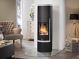justus faro plus 469311 kaminofen stahl schwarz abdeckplatte speckstein grau 7kw. Black Bedroom Furniture Sets. Home Design Ideas