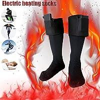 à piles Chaussettes chauffantes, Winter chauffe-pieds électrique chaud thermique Chaussettes Chaussettes de coton chaud pour homme et femme Outdoor Ski, tailles 36–46(batterie non inclus)