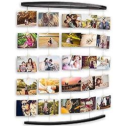 Uping Cadre Photo Mural Pêle Mêle en Bois Grand Cadre Photo avec Corde et Porte Photos Pinces (Noir)