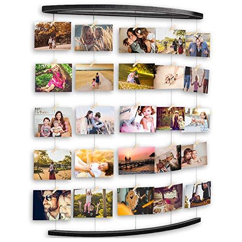 Uping cornice portafoto multipla cornice foto collage da parete, portafoto con clip per appendere foto wall decor (nero)