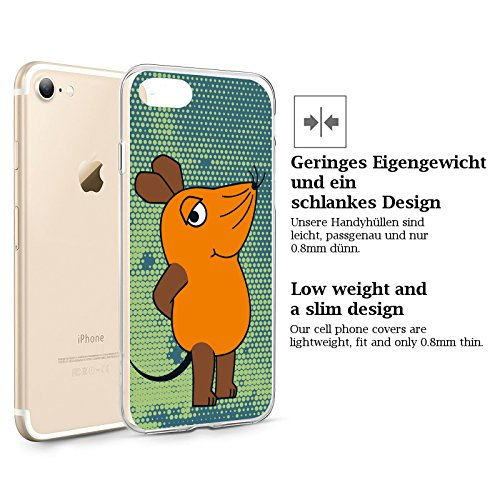 FINOO | Iphone SE Silikon-Handy-Hülle | Transparente TPU Cover Schale | Tasche Case mit Slim Rundum-schutz | stoßfester dünner weicher Bumper | Sendung mit der Maus Motiv | Maus schwarz Maus groß V4