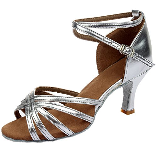 Oasap Women's Fashion Peep Toe Cross Strap Latin Dance Shoes Silver
