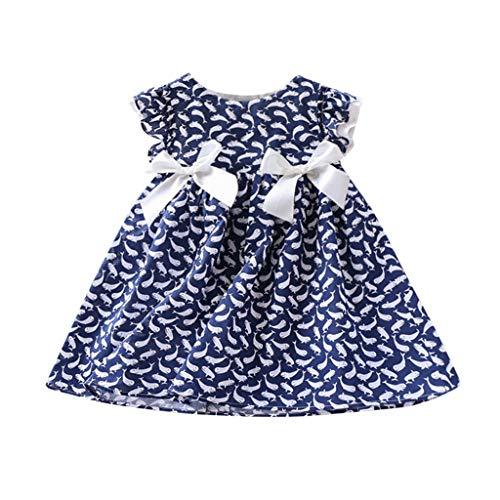 Mädchen Baby Delfin-Druck Doppelbogen Ärmel Volant Kleid Prinzessinnen-Kleid mit Rüschen mit Doppelschleife und Aufdruck Delfin 2 - 7 Jahre Mädchen 130/15 blau ()