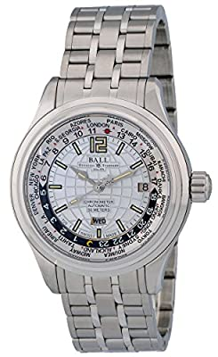 Ball Trainmaster Worldtime Automatic Mens Watch Silver Dial Calendar GM1020D-S1CAJ-WH