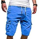 Short Cargo Homme,ITISME pour des Hommes Sport Couleur Pure Bandage Décontractée Personnalité en Vrac Multi-Poche Les Pantalons de Survêtement Cordon de Serrage Shorts Pant (M, 11-Bleu)