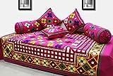 #9: AURAVE Festive Colors Traditional Pattern Multicolor Diwan Set - Pink (6 pcs set),DN2