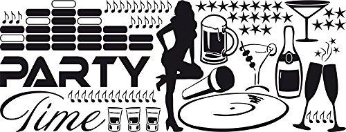 GRAZDesign 770160_57_070 Wandtattoo Party Time | für Partyraum oder Keller | Party-Dekoration für Wände - Schränke - Fenster | Wand-Dekoration für Feste (149x57cm//070 schwarz) (Vinyl-keller-fenster)