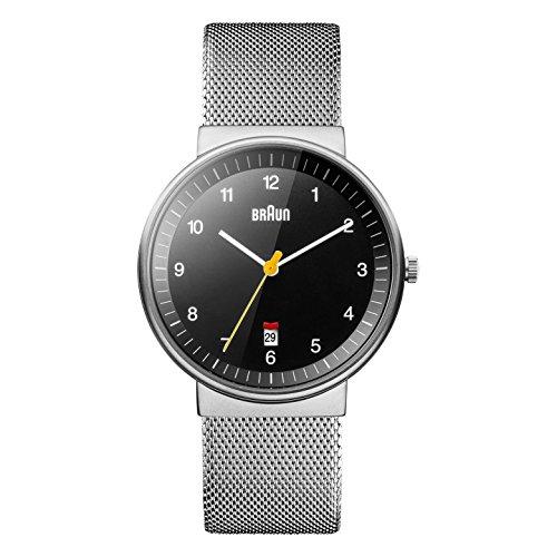 Braun BN0032BKSLMHG - Reloj análogico de cuarzo con correa de acero inoxidable para hombre, color plateado/negro