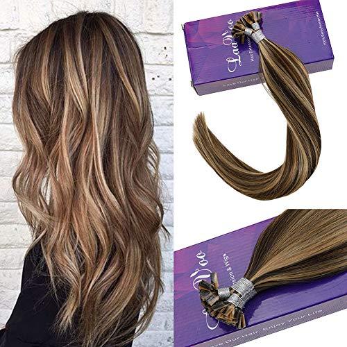 Laavoo 22pollici/55cm keratina extension capelli flat-tip marroni mescolare bionda caramellata lisci fusion capelli veri cheratina 1g 50ciocche per pacco
