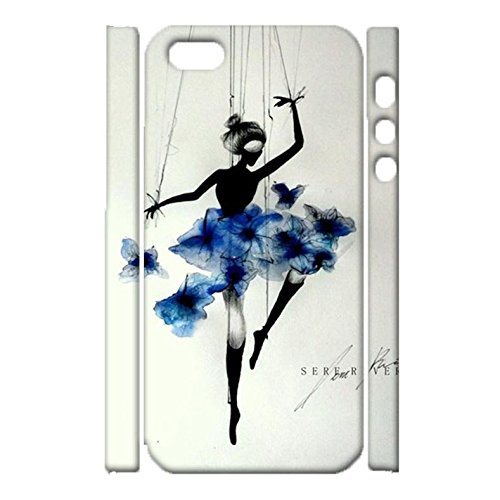 iPhone 5/5s/SE Back Case Cover,Vintage Perfect Ballerina Drawing Mark Design Shell 3D Hard Plastic Cover for iPhone 5/5s/SE Phone Case