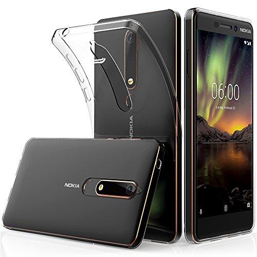 Peakally Nokia 6.1 / Nokia 6 2018 Hülle, Soft Silikon Dünn Transparent Hüllen [Kratzfest] [Anti Slip] Durchsichtige TPU Schutzhülle Case Weiche Handyhülle für Nokia 6.1 5.5
