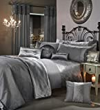 GRAN RENO Luxury Crushed Velvet Bedding Bedroom Collection by Viceroybedding (Silver Grey Double Duvet Cover Set Including Pair of P/Case)
