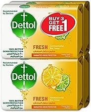 Dettol Fresh Anti-bacterial Bar Soap 165g 3+1 Free - Citrus & Orange Blo