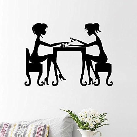 zooarts due ragazze Manicure rimovibile Wall Stickers Art Decor vinile