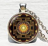 Sri Yantra Anhänger, buddhistische Heilige Geometrie Schmuck, Heilige Geometrie, Schmuck, Alten Mandala Antik, Sri Yantra Halskette, buddhistische