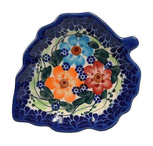 Platillo tradicional de cerámica hecho a mano con forma de hoja para té, para usar como portacucharas o para dejar la bolsa de té, L.12 cm, patrón de estilo Boleslawiec, H.401 Garland Collection