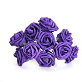 10Pcs Artificial Flower Foam Rose Wedding Bridesmaid Bridal Bouquet Party Decor Purple&7Cm