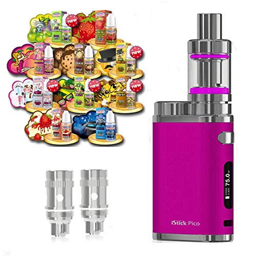 Anfänger XXL Set E-Zigarette SC produced by Eleaf Pico   iStick 75W Starterset Pink 2600mAh   TC (Temperaturregelung)   mit 10 x SC Liquids - 00mg Rauchen ohne Nikotin