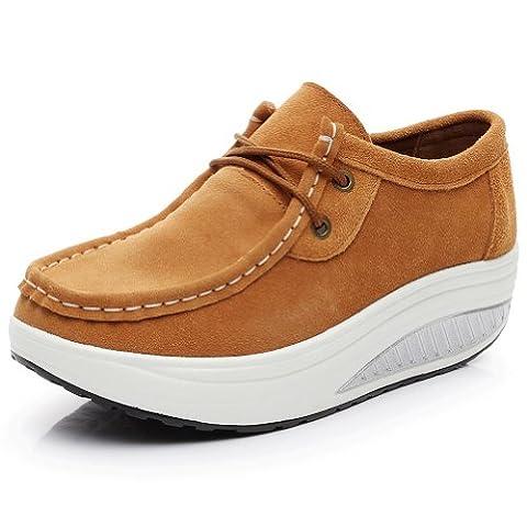 Shenn Damen Keilabsatz Sportlich Gemütlich Schnüren Wildleder Mode Sneaker 1061(Vortrag,EU39) (Ss Muster)