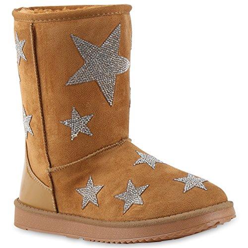 Warm Gefütterte Boots Schlupfstiefel Schleifen Pailletten Kunstfell Stiefel Booties Winterstiefel Schuhe 126868 Hellbraun Stars 37 | (Kostüme Stars 2017)