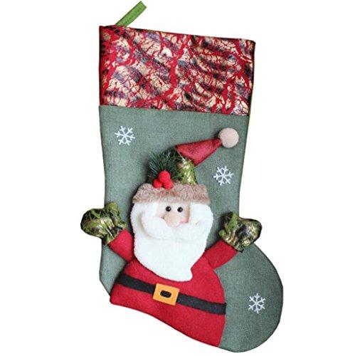 chenk Tasche, Weihnachtsmann Schneemann Socken dekorative Anhänger, große Weihnachtssocken Candy Bag , B (Mini-filz-weihnachts-strümpfe)