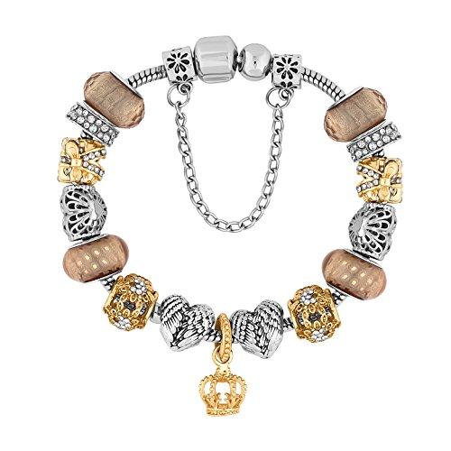 Beautiful treasure fascino bracciale in metallo colore misto misti di diamante stile (uk). regalo perfetto per lei in oro bianco e giallo 14k placcato con cristalli austriaci di alta qualità.