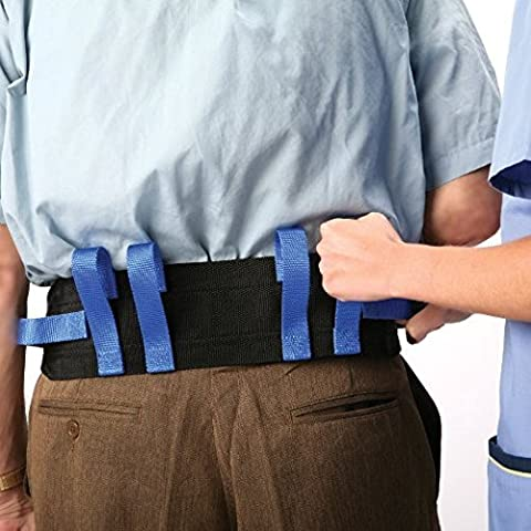 Medical Gait Belt, Soft Nylon Transfer Belt With 6 Handles And Quick Release Buckle, Machine Washable - Back 4