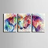 HD Watercolor Pferd Leinwand Kunstdruck Gemälde Poster, Kunstdruck Wandbilder für Home Dekoration, Wall Decor Art (50* 70cm, 3ohne gerahmt)