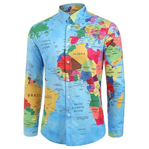 WQIANGHZI Herrenhemd, Herren Business Hemd Slim Fit für Freizeit schickes Persönlichkeit 3D-Druck Map Print Revers Langarm-Shirt Umlegekragen T-Shirt Top Hemden Langarmhemd