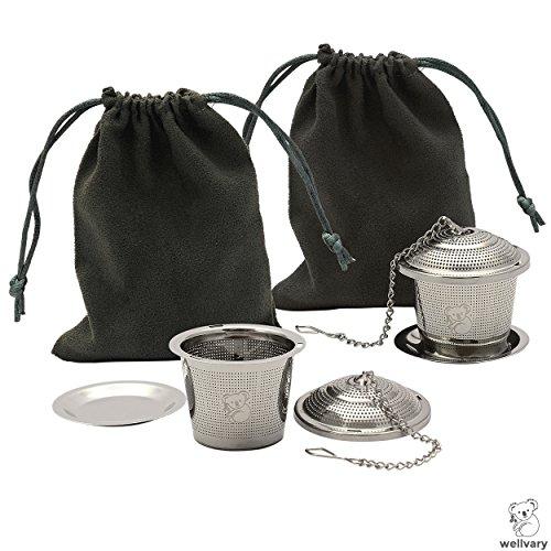 Premium Edelstahl Teeei | hochwertiges Teesieb & Teefilter | Teekugel für losen Tee | feinster Teegenuss im edlem Veloursbeutel (grau) von wellvary - 2er Set - 2