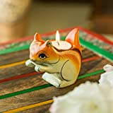 ExclusiveLane Handmade & Hand-Painted Squirrel Decorative Candle Holder Cum Tea Light Holder In Wood -Votive Candle Holders Diyas And Lanterns Diwali Decoration