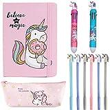 DreamJing Kit de Papeterie Licorne Back to School Fourniture - Stylo bille 4 couleur, Stylo gel, Cahier, Trousse à crayons Trousse Scolaire Licorne pour Enfant Fille