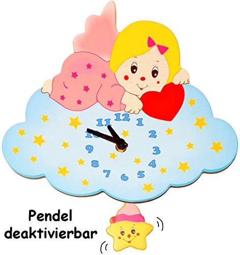 Unbekannt Wanduhr - Uhr aus Holz -  Engel / Engelchen mit Wolke - rosa - pink  - 29 cm groß - sehr leise ! - Pendel abnehmbar - für Kinderzimmer & Wohnzimmer - Holzuh..