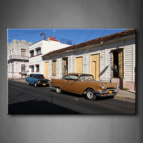 Cuba Street Classic Old Cars in the Stree House Road Horse Wall Art painting The Picture Print on canvas Car PICTURES for home decor Decoration Gift, telaio di legno pronto da appendere
