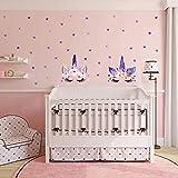 MAFENT Einhorn Wand Aufkleber Regenbogenfarben Wandtattoo Spiegelnde Wand Aufkleber Für Mädchen Schlafzimmer Spielzimmer Dekoration (Lila)