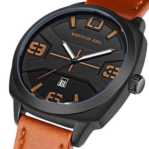 Vatertagsgeschenk Menton Ezil Herren Uhren Mode braun Lederband wasserdicht minimalistischen Analog Quarz Casual Dress Armbanduhr mit Kalenderdatum, schwarz